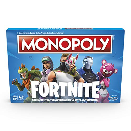 51bPZtY11oL. SS500 Monopoly - fortnite (hasbro e6603105) Para los fans de fortnite: en este juego monopoly, basado en el popular videojuego fortnite, los jugadores se apoderan de lugares, luchan en contra de sus oponentes y evitan la tormenta para sobrevivir; el último jugador en pie gana Propiedades fortnite y puntos de vida: la edición fortnite del juego monopoly presenta los lugares del videojuego como propiedades; además, los jugadores tienen el objetivo de ganar puntos de vida en vez de dinero monopoly para mantenerse en el juego