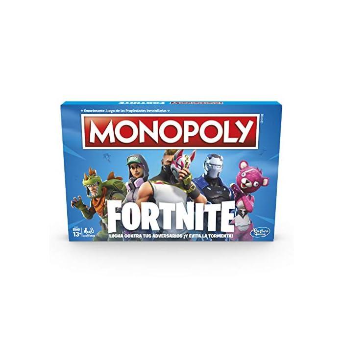 51bPZtY11oL Monopoly - fortnite (hasbro e6603105) Para los fans de fortnite: en este juego monopoly, basado en el popular videojuego fortnite, los jugadores se apoderan de lugares, luchan en contra de sus oponentes y evitan la tormenta para sobrevivir; el último jugador en pie gana Propiedades fortnite y puntos de vida: la edición fortnite del juego monopoly presenta los lugares del videojuego como propiedades; además, los jugadores tienen el objetivo de ganar puntos de vida en vez de dinero monopoly para mantenerse en el juego