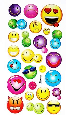 NipitShop 1 Sheet Lovely Emoji Smile Smiley Sticker Foam Nursery Room School Stickers for Kids Toys Birthday Card Diary Album Gifts