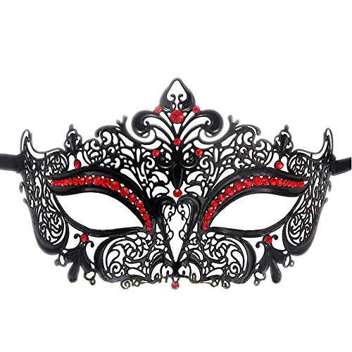 Rehoty Womens Masquerade Mask Metal Rhinestone Venetian Halloween Christmas Party Evening Prom Mask (Black+Red)