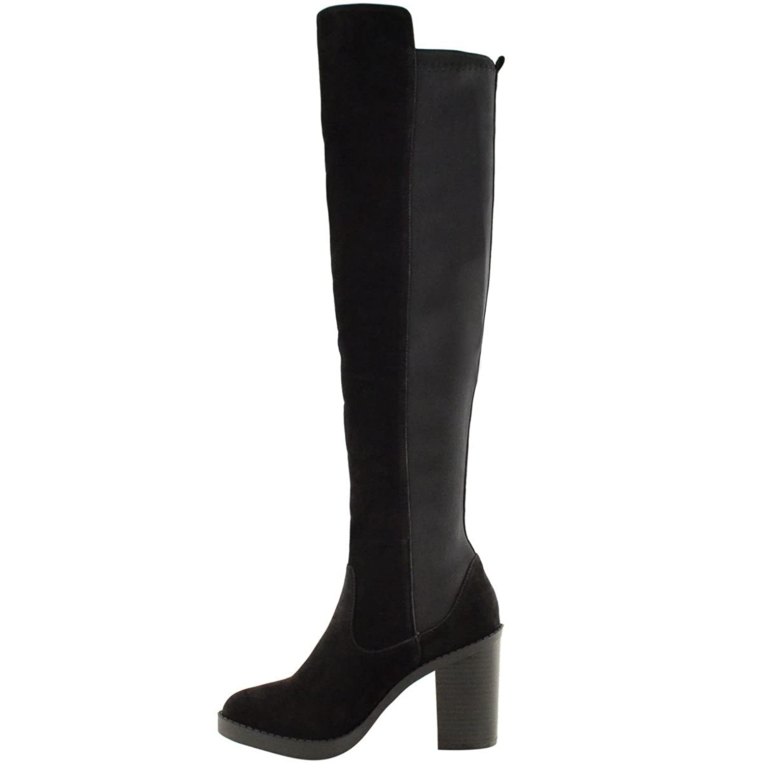 WOMENS LADIES CHUNKY HEEL OVER THE KNEE THIGH HIGH WINTER BOOTS STRETCH  WIDE LEG: Amazon.co.uk: Shoes & Bags