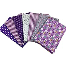 "Misscrafts 7pcs 19.7"" x 19.7"" TOP Cotton Blending Textile Craft Fabric Bundle Fat Quarter Squares Patchwork DIY Sewing Scrapbooking Dot Floral Pattern (Purple)"