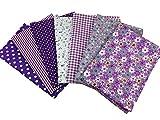 """Arts & Crafts : Misscrafts 7pcs 19.7"""" x 19.7"""" TOP Cotton Blending Textile Craft Fabric Bundle Fat Quarter Squares Patchwork DIY Sewing Scrapbooking Dot Floral Pattern (Purple)"""