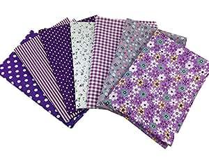 """Misscrafts 7pcs 19.7"""" x 19.7"""" TOP Cotton Blending Textile Craft Fabric Bundle Fat Quarter Squares Patchwork DIY Sewing Scrapbooking Dot Floral Pattern (Purple)"""