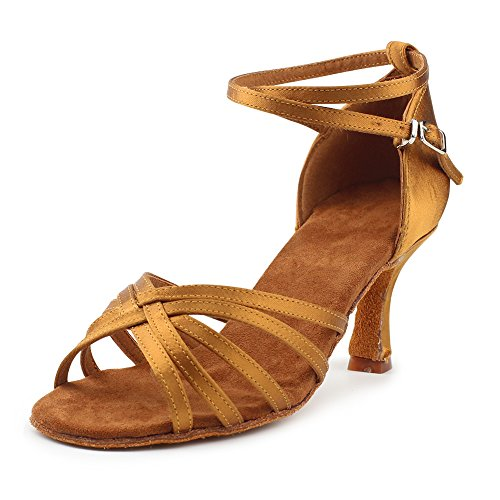 MSMAX Latin Dance Shoes for Women Satin Indoor Ballroom Shoes 2.7 inches Heel,Brown Size 10