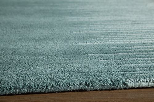 Momeni Rugs Delhi Collection 100 Wool Hand Carved Hand Tufted Contemporary Area Rug, 8 x 10 , Aqua Blue