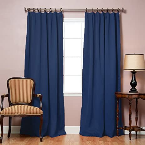 Best Home Fashion Pinch Pleated Thermal Insulated Blackout Curtain    Antique Bronze Grommet Top   Navy