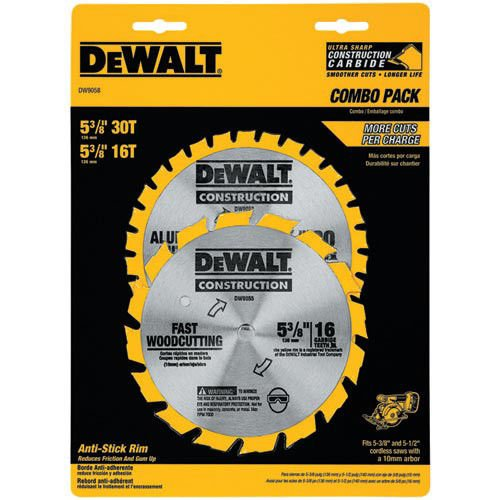 DEWALT DW9058 5-3/8-Inch Cordless Construction Saw Blade Combo Pack with 30 Tooth and 16 Tooth Saw (Construction Combo Pack)