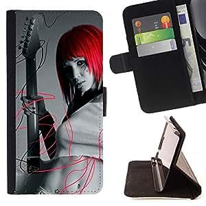 For Sony Xperia Z1 Compact / Z1 Mini (Not Z1) D5503 Case , Diseño Chica Cabeza Roja- la tarjeta de Crédito Slots PU Funda de cuero Monedero caso cubierta de piel