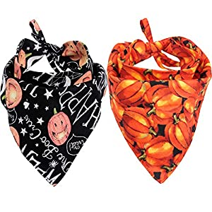 KZHAREEN 2 Pack Halloween Dog Bandana Reversible Triangle Bibs Scarf Accessories for Dogs Cats Pets Animals