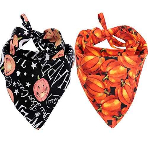 Dogs For Halloween (KZHAREEN 2 Pack Halloween Dog Bandana Reversible Triangle Bibs Scarf Accessories for Dogs Cats Pets)