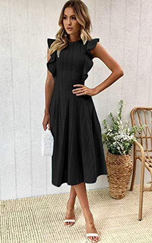 Ruffle Cap Sleeves Midi Dress