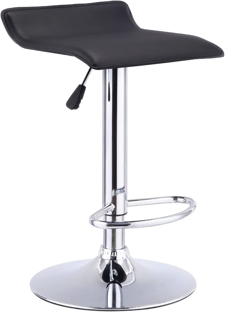 COSTWAY Swivel Bar Stool Backless Leather Dining Chair Adjustable Black