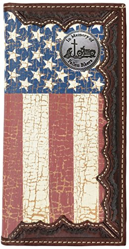 Flag Long Wallet (Custom Fallen Bikers American Flag Long Wallet with Distressed United States Flag)