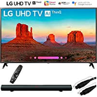LG 65UK6300PUE 65-Class 4K HDR Smart LED AI UHD TV w/ThinQ (2018 Model) with Sharper Image 37 Sound Bar Bluetooth Speaker with Optical Input and 6ft Optical Toslink 5.0mm OD Audio Cable