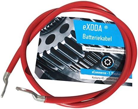 eXODA Cavo da Batteria 300cm Cavo di Alimentazione da 10 mm/² in Rame con estremit/à ad Anello M6 Nero 12V Cavo da Auto