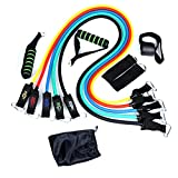 QKIFLY 11 pcs Resistance Band Set - with 5 Exercise Bands - with Door Anchor - Foam Handles - Ankle Straps and Waterproof Carrying Case - For Resistance Training - Physical Therapy - Home Workouts