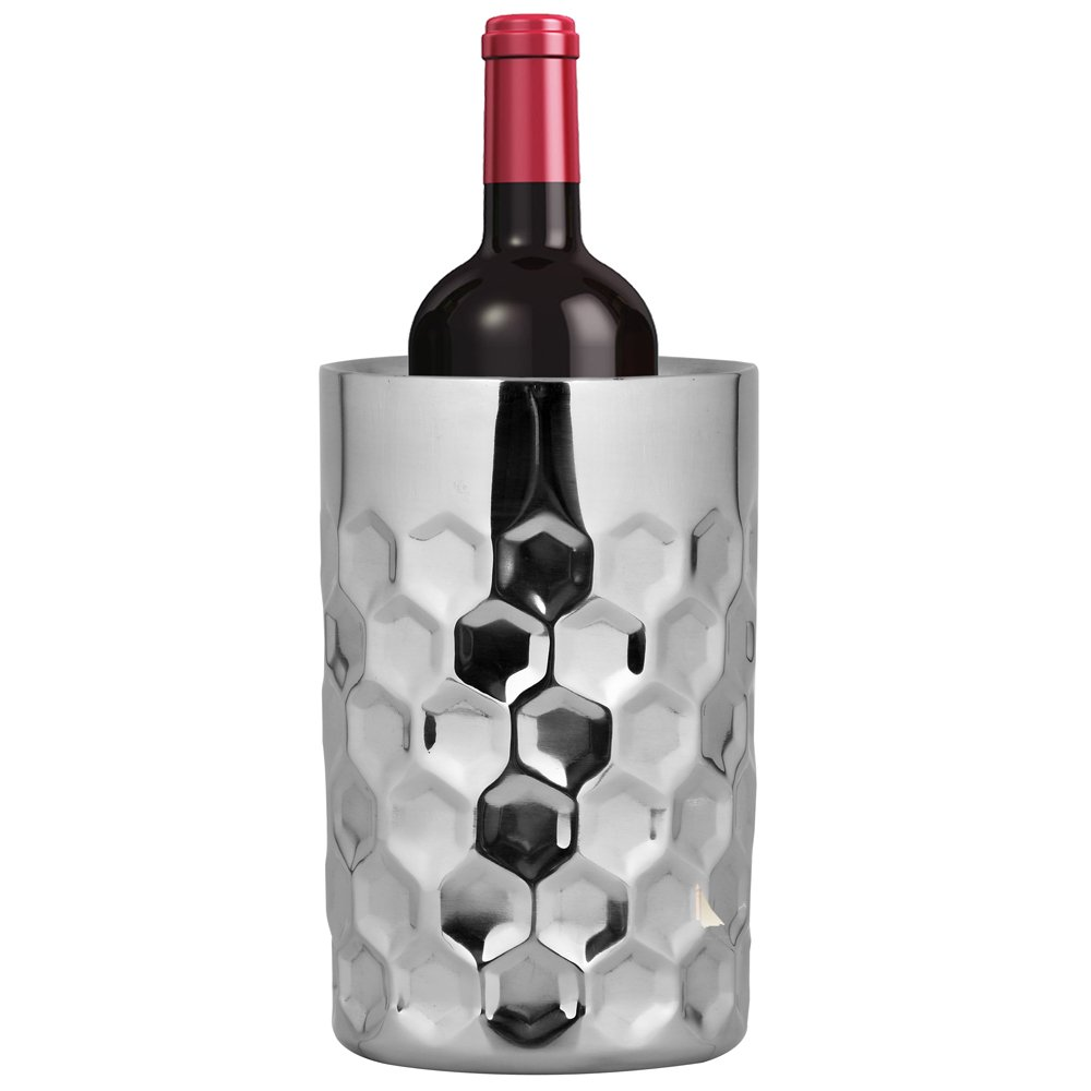 Kosma Designer Double Wall Wine Cooler | Stainless Steel Wine Chiller- Size 12 x 20 cm | Drink Cooler with Hammered Effect