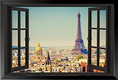 Buyartforless IF HG NY891 1.25 Black Framed Paris Open Window Skyline 36X24 Eiffel Tower Art Print Poster