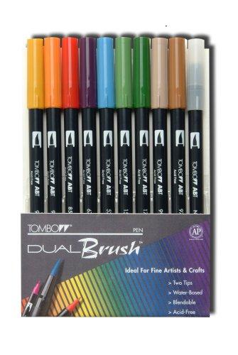 Tombow Dual Brush Pen Set 9 Earth Colors Plus Brush Pen 10 Piece