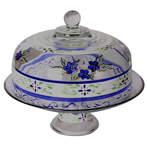 Golden Hill Studio Cake Dome Hand Painted in the USA by American Artists-Blue Floral Collection