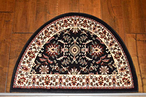 2'2'' x 3'3'Traditional Design Hearth Slice Rug Black Beige Fireplace Lodge Cabin Doormat by Premier