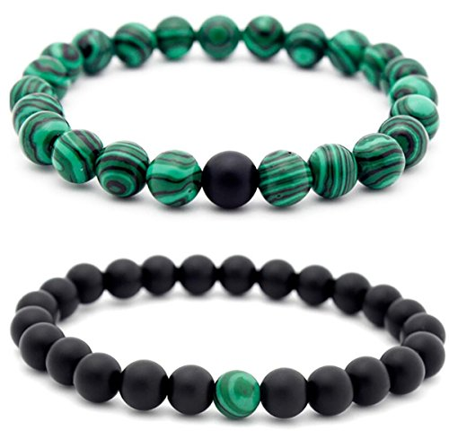- Set of 2 Womens Mens 8mm Handmade Couples Distance Beads Bracelets Friendship Couple Jewelry Round Energy Stone Beads Gemstone Beaded for Valentine Birthday (Malachite Stone & Black Matte Agate)