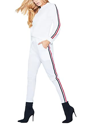 Battercake Due-Pezzi Invernali Donna Eleganti Moda Pantalone Zug Manica  Lunga Rotondo Collo Casuale Donne Stripe Casual Felpa Bendare Nahen Taille  Tasche ... 60da2f38498