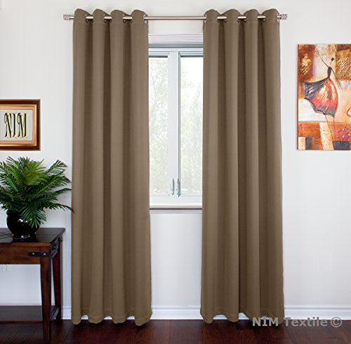 NIM Textile Grommet Curtains Thermal Insulated Blackout Drapes, 95