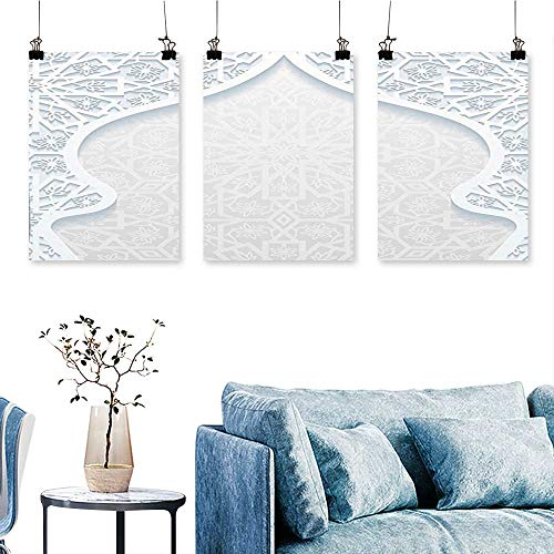 - SCOCICI1588 Three Consecutive Painting Frameless Arabesque Arched Royal Persian Figure with Floral Cultural Graphic Light Blue Artwork for Wall Decor Triptych 24 INCH X 47 INCH X 3PCS