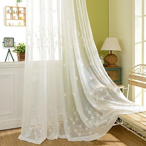 JOLIN Sheer Panels White Lace Curtains Living Room Shade floor-length drapes