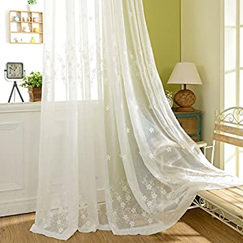 JOLIN Sheer Panels White Lace Curtains Living Room Shade Floor Length Drapes