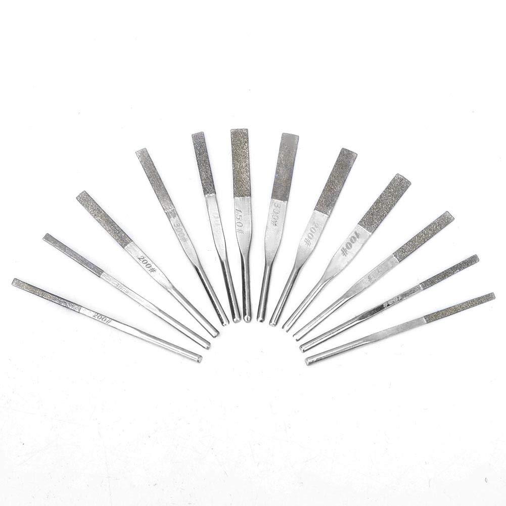 Schaftkegelmaschine Diamantfeilen zum hin- und hergehenden Schleifen 12-teiliges Pr/äzisions-Nadelfeilenset K/örnung 100//150//200//300