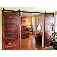 Diyhd 8ft Bent Straight Rustic Black Double Sliding Barn Wood Door Hardware Interior Sliding Wood Closet Door Sliding Track Kit (8ft Track Kit)