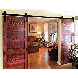 DIYHD 8ft Bent Straight Rustic Black Double Sliding Barn Wood Door Hardware Interior Sliding Wood Closet Door Sliding Track Kit