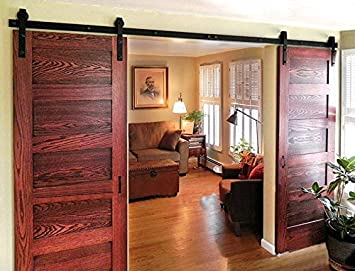 DIYHD 8ft Bent Straight Rustic Black Double Sliding Barn Wood Door Hardware Interior Sliding Wood Closet & Amazon.com: DIYHD 8ft Bent Straight Rustic Black Double Sliding ... pezcame.com