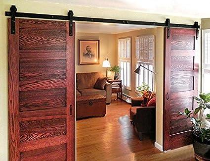 DIYHD 8ft Bent Straight Rustic Black Double Sliding Barn Wood Door Hardware  Interior Sliding Wood Closet
