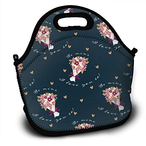 Valentine Flower Fashion Neoprene Lunch Bags Insulated Picnic Lunch Tote Bag Boxes for Kids Adults Women Men Work School Travel Use