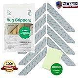 Non Slip Rug Gripper Pads: 8 Reusable Corner Carpet Tape Grippers - Adhesive No Skid Anti Slip Pad for Hardwood or Laminate Floors - Sticky Nonslip Grip Anchors for Never Curl Area Rugs & Runner Edges
