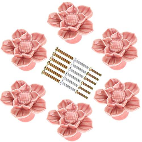 (Corasays Pink Flower Ceramic Drawer Cabinet Knobs and Pulls for DIY Home Furniture Cabinet Dresser Cupboard Bin Door Handles, Pack of 6)