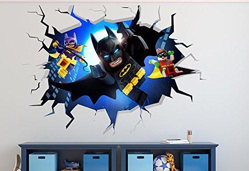 Lego Batman Smashed 3D Wall Decal Kids Sticker Art Decor Vinyl Smash Boy Girls Removable WW32 (Small (Wide 22