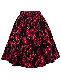 Women's Elegant Knee Length Pleated Floral A Line Full...
