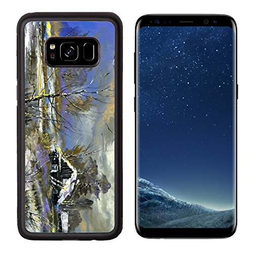 Liili Premium Samsung Galaxy S8 Aluminum Backplate Bumper Snap Case The rural house on the bank of lake in the winter Photo 9360368 Simple Snap Carrying - Imagination Village