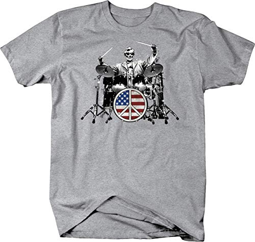 BQM Gear Abraham Lincoln Playing The Drums American Flag Peace Sign Tshirt - XLarge