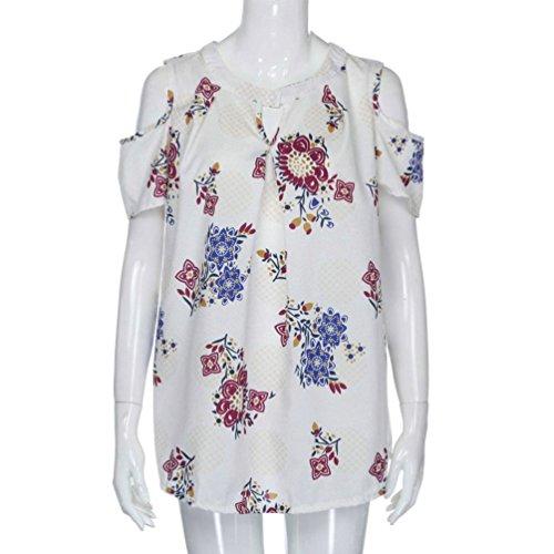 Damen Bluse Strand Tops Sommer Shirt Weiß Tunika Ausschnitt V TUDUZ Lose Blumen Oberteil Drucken Elegant Top T d6xw47q