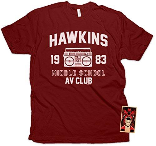Daft Threads ~ Hawkins Middle School A.V. Club Stranger T-Shirt & Things Sticker Maroon (Youth Medium)