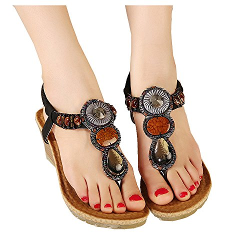 of Shoes Rhinestones Beaded Flops flip Sandal Colorfulworld Women's Black Styles Bohemia wZIx14qaX