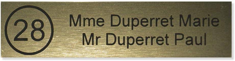 2 lignes Plaque boite aux lettres NUMERO Edelen 99x24mm cuivre lettres noires