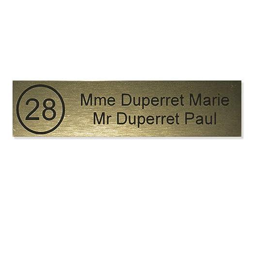 Placa Buzón número Edelen (99 x 24 mm) oro cepillado letras negras – 2 líneas