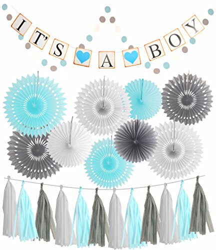 Blue White Grey Baby Boy Baby Shower Decorations/Grey Elephant Baby Shower, Blue Baby Shower Decorations For Boy - Its A Boy Party Decor | Garland Banner |Photo Props and -